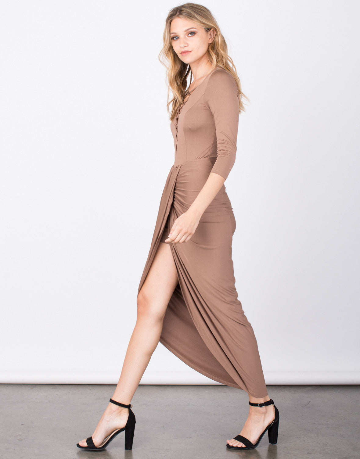 Side View of Slinky Lace-Up Wrap Dress