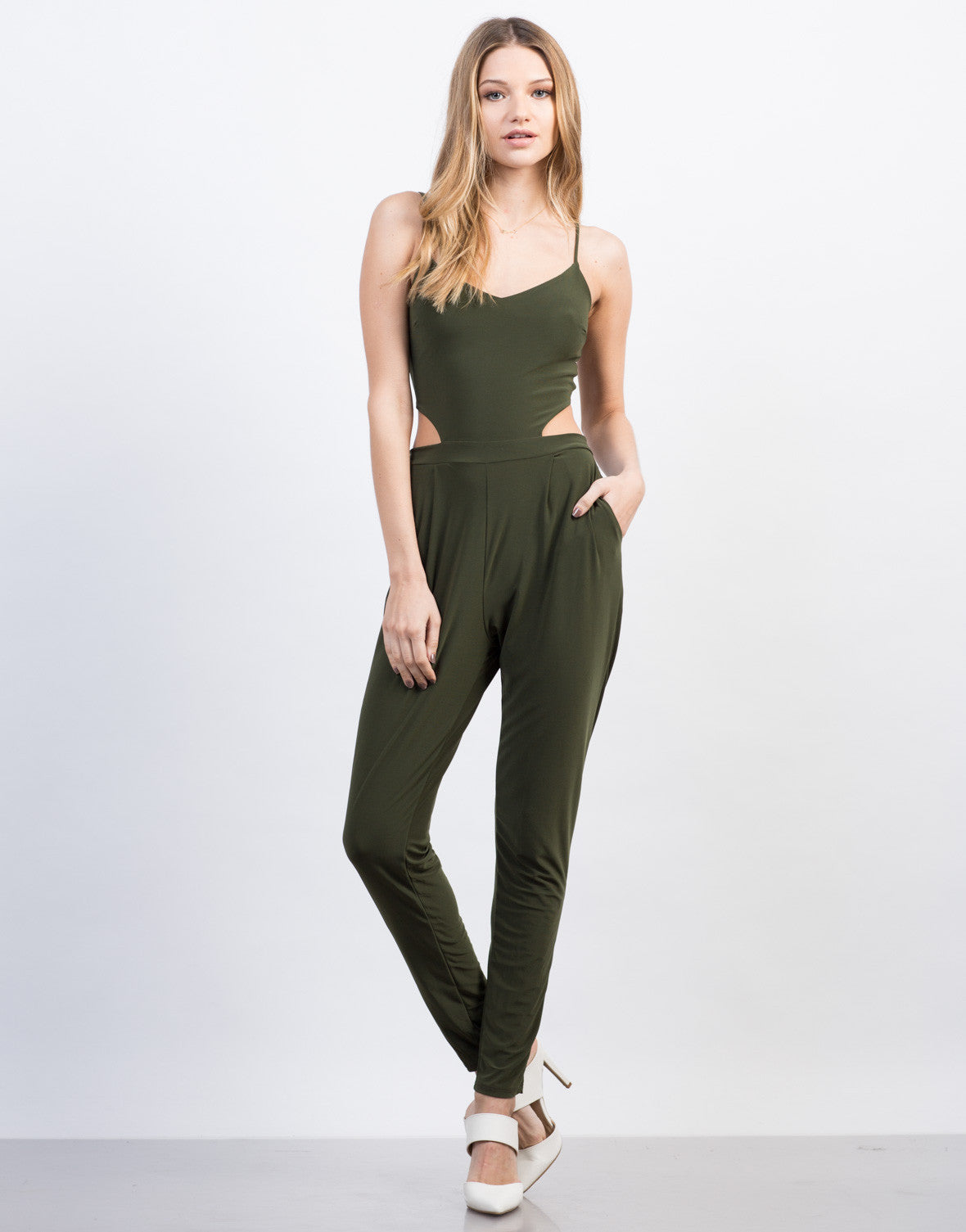 Front View of Slinky Open Back Jumpsuit