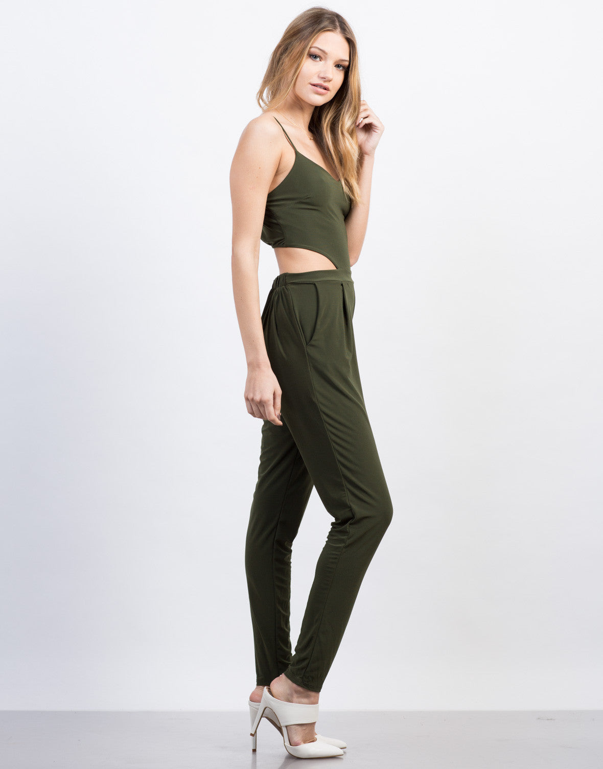 Side View of Slinky Open Back Jumpsuit