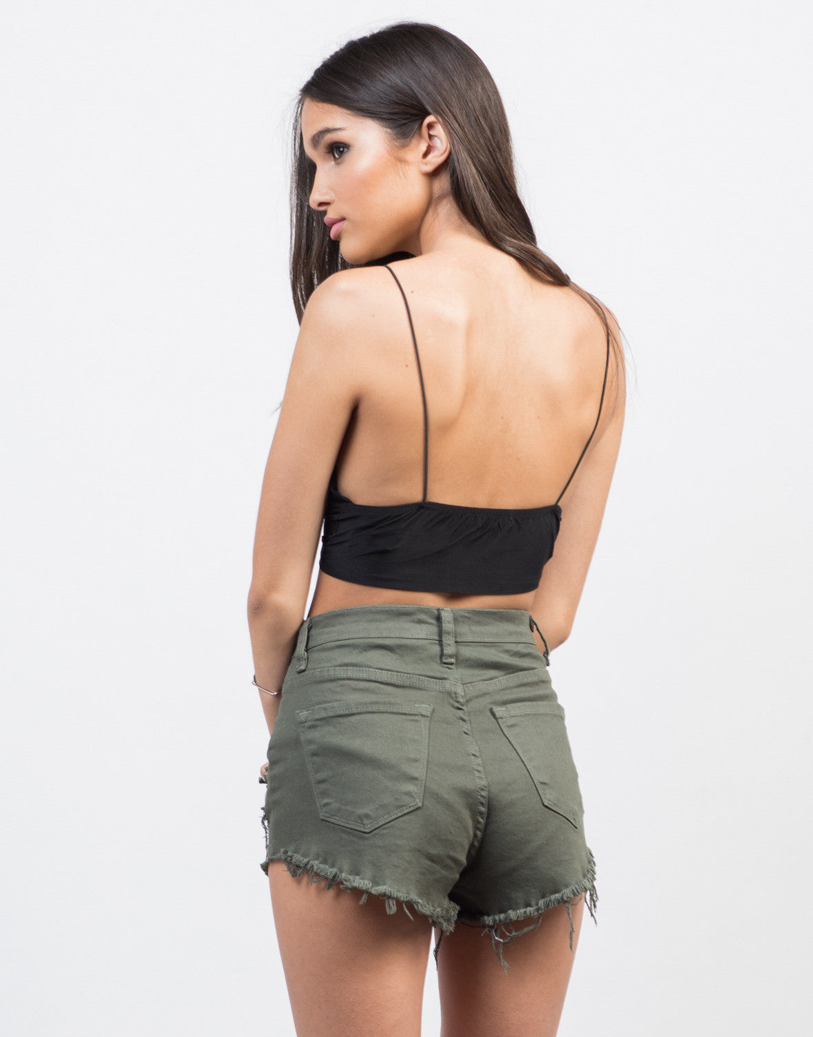 Back View of Slinky Wired Crop Top