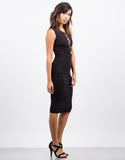 Side View of Slinky Lace Up Dress