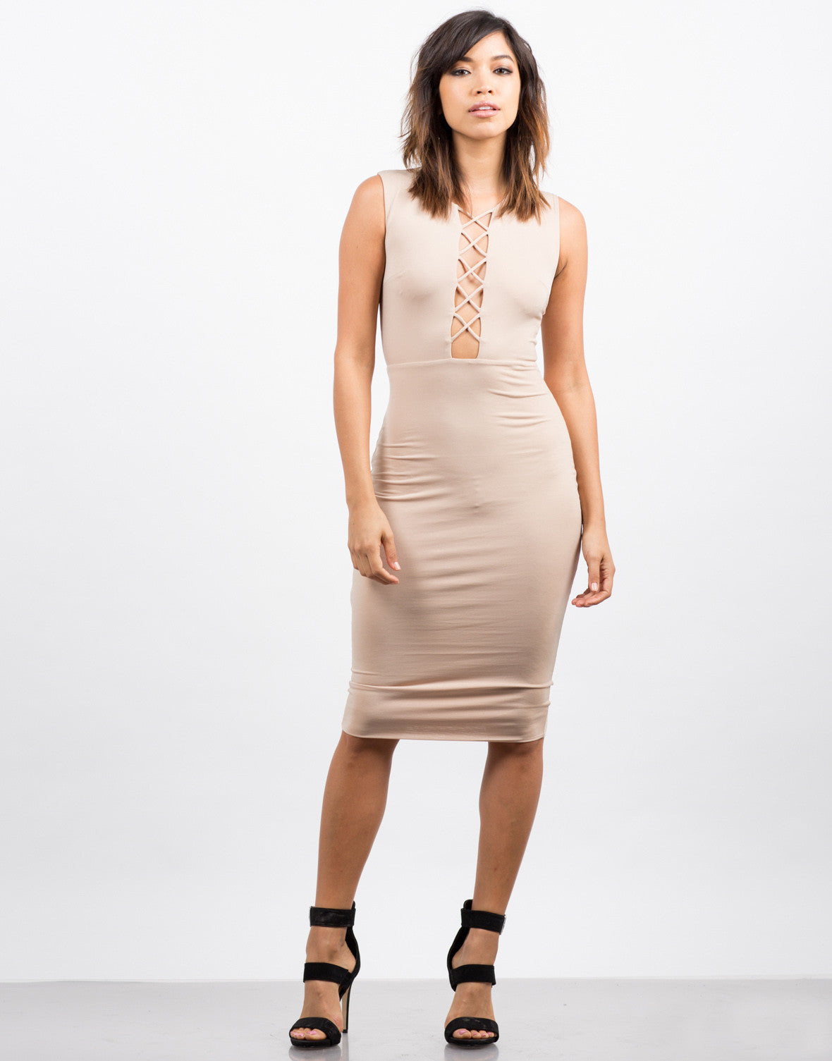 Front View of Slinky Lace Up Dress