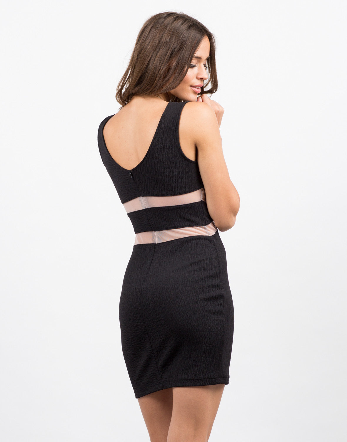 Slit and Meshed Little Black Bodycon Dress - 2020AVE