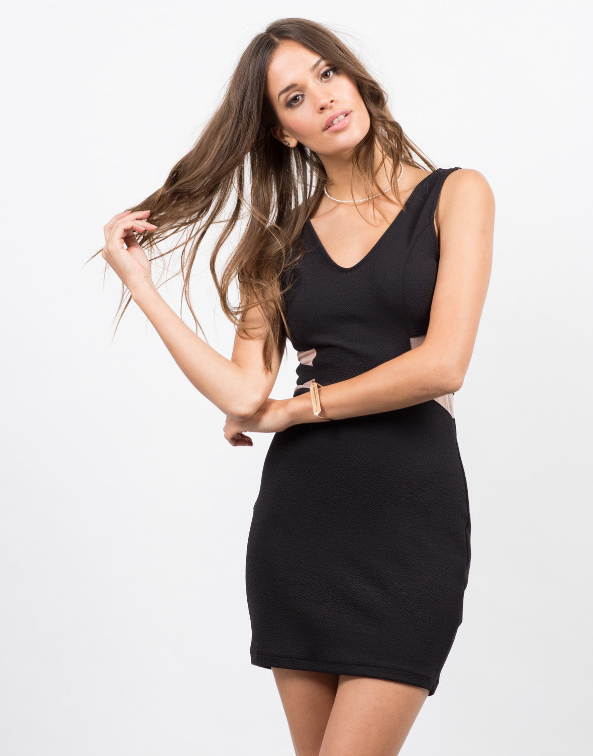 Front View of Slit and Meshed Little Black Bodycon Dress