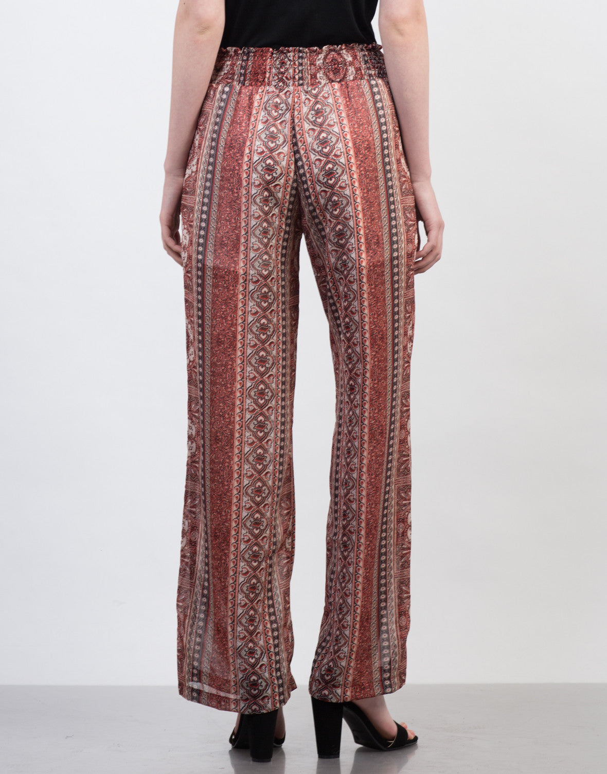 Back View of Smocked Printed Sheer Pants