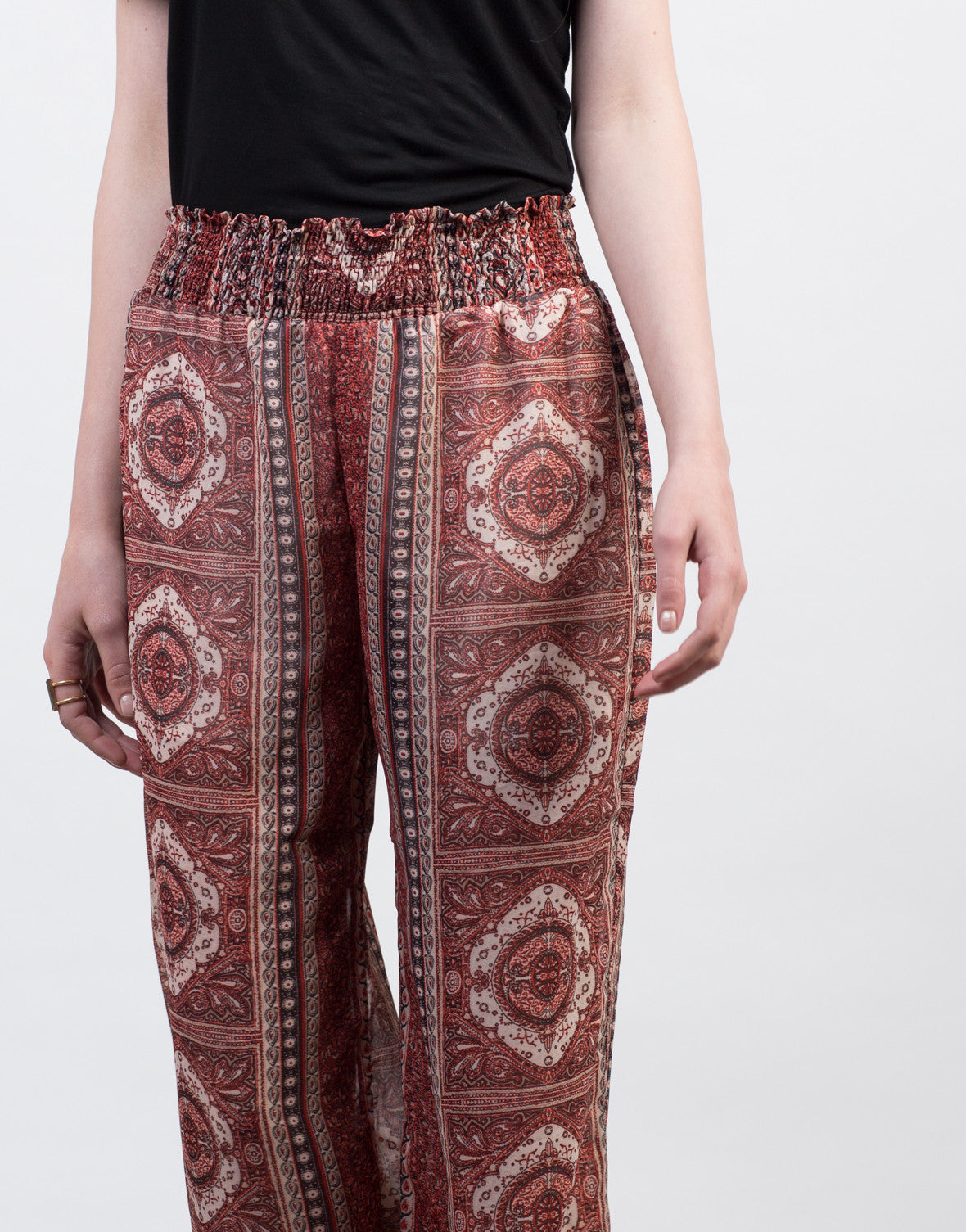 Detail of Smocked Printed Sheer Pants