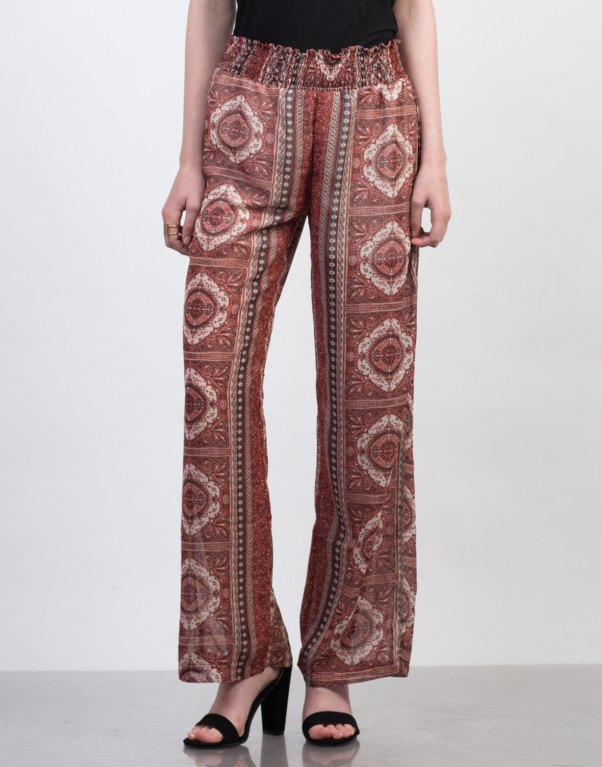 Front View of Smocked Printed Sheer Pants