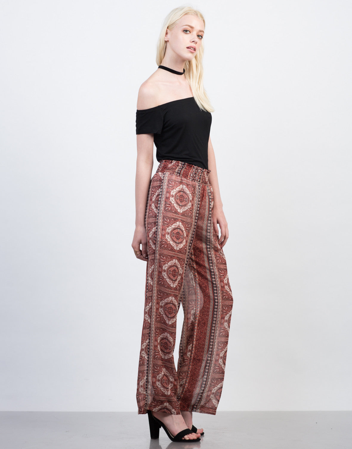 Side View of Smocked Printed Sheer Pants