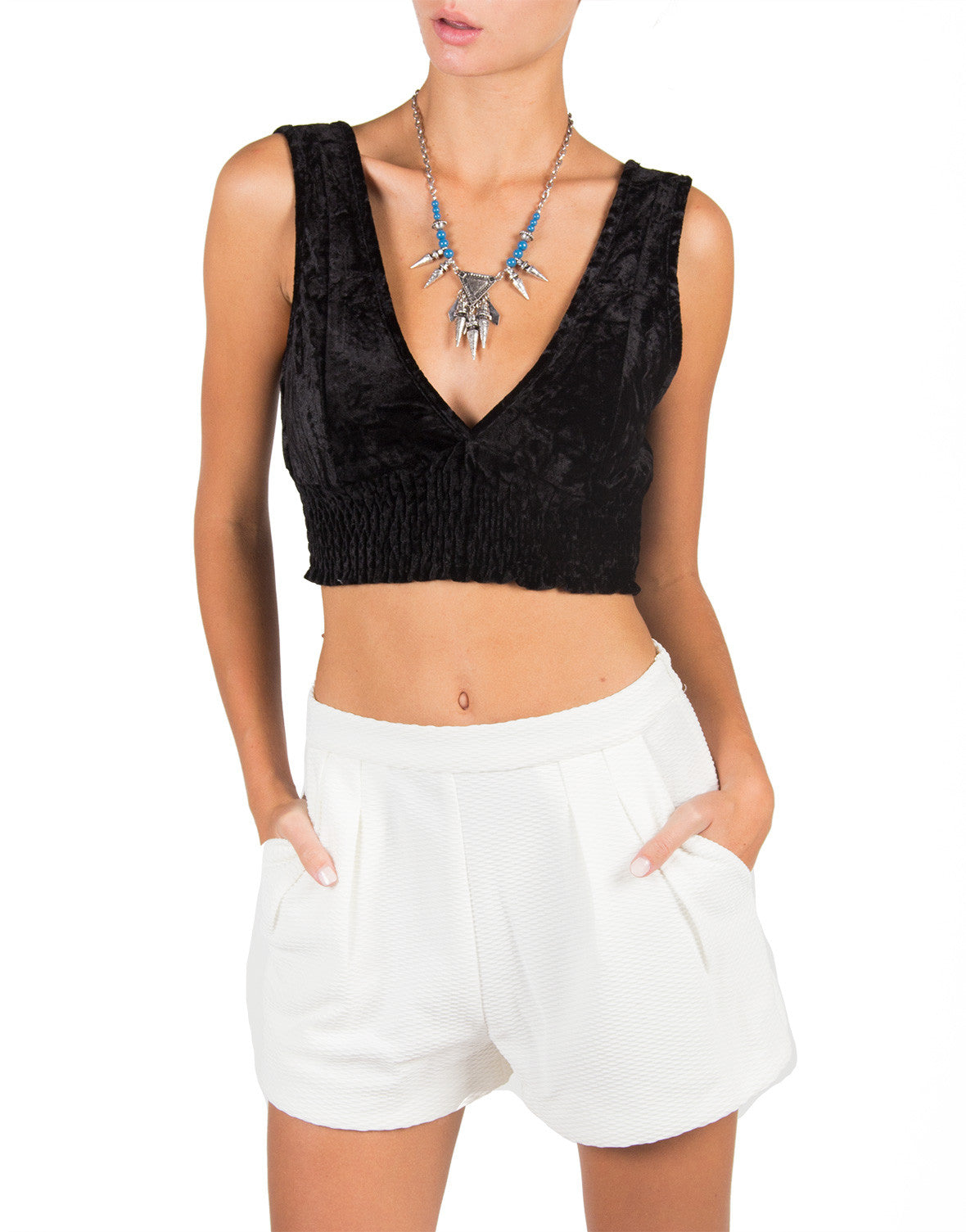 Smocked Velvet Deep V Crop Top - Black - Cotton Candy CT-5089-Black