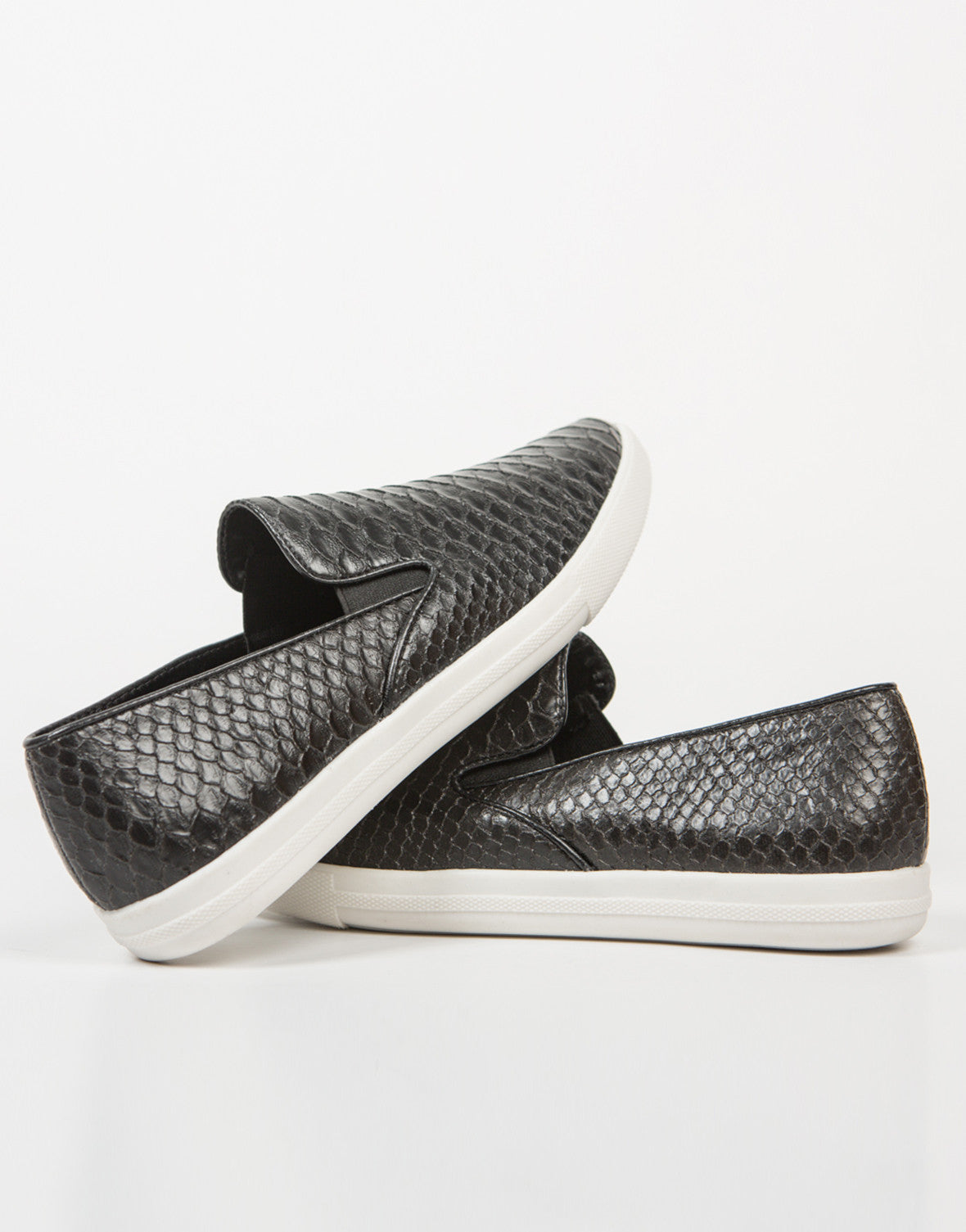 Front View of Snake Skin Slip On Sneakers