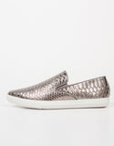 Side View of Snake Skin Slip On Sneakers