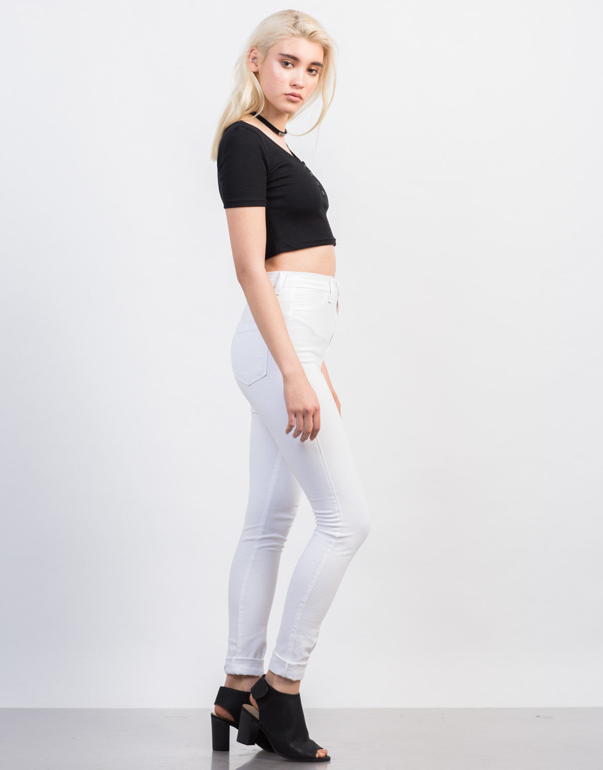Side View of Snap It Cropped Tee