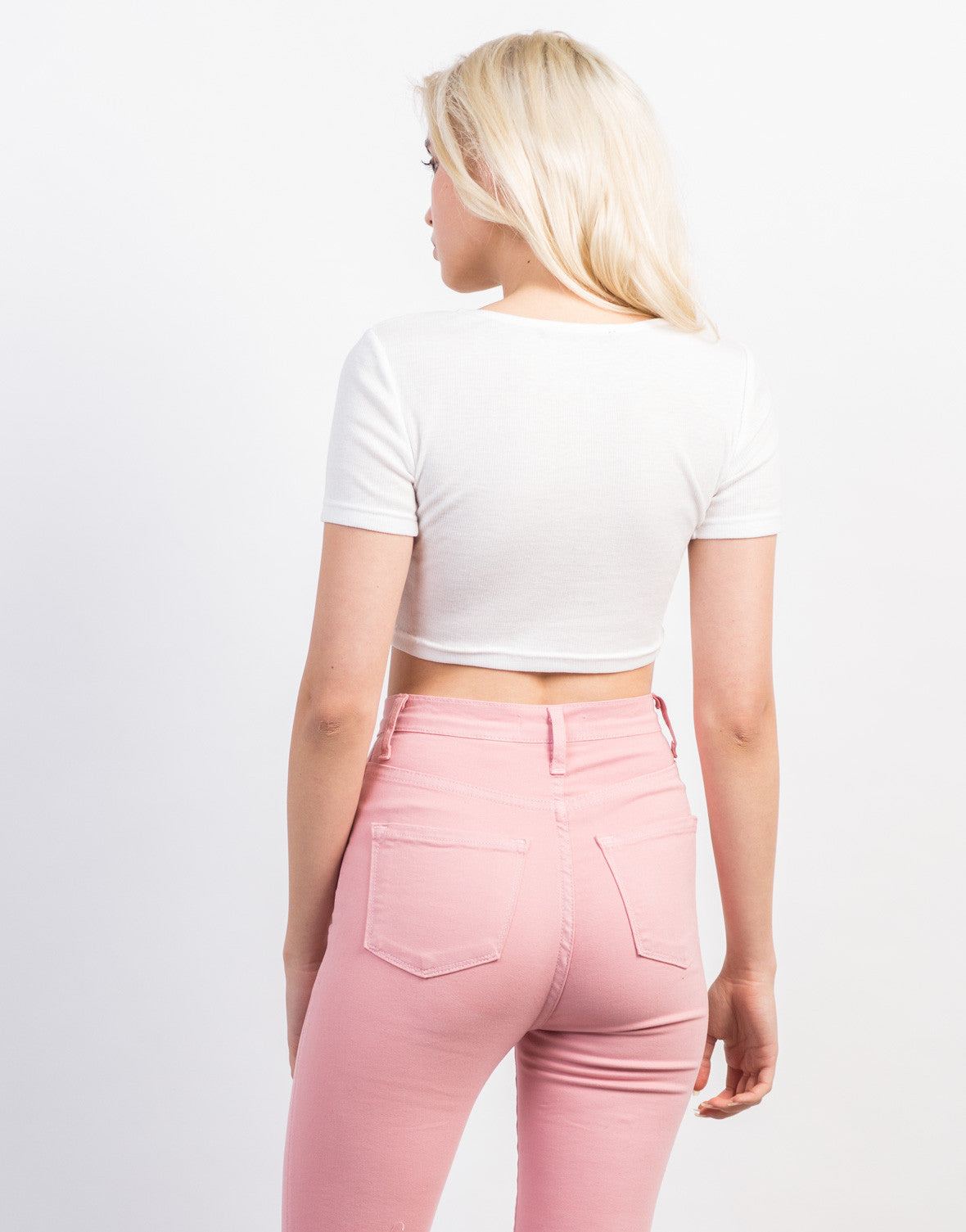 Back View of Snap It Cropped Tee