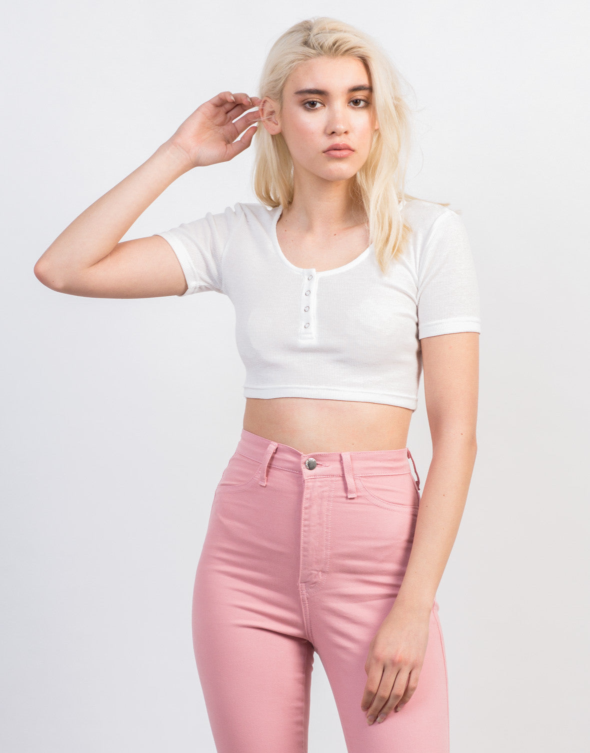 Front View of Snap It Cropped Tee