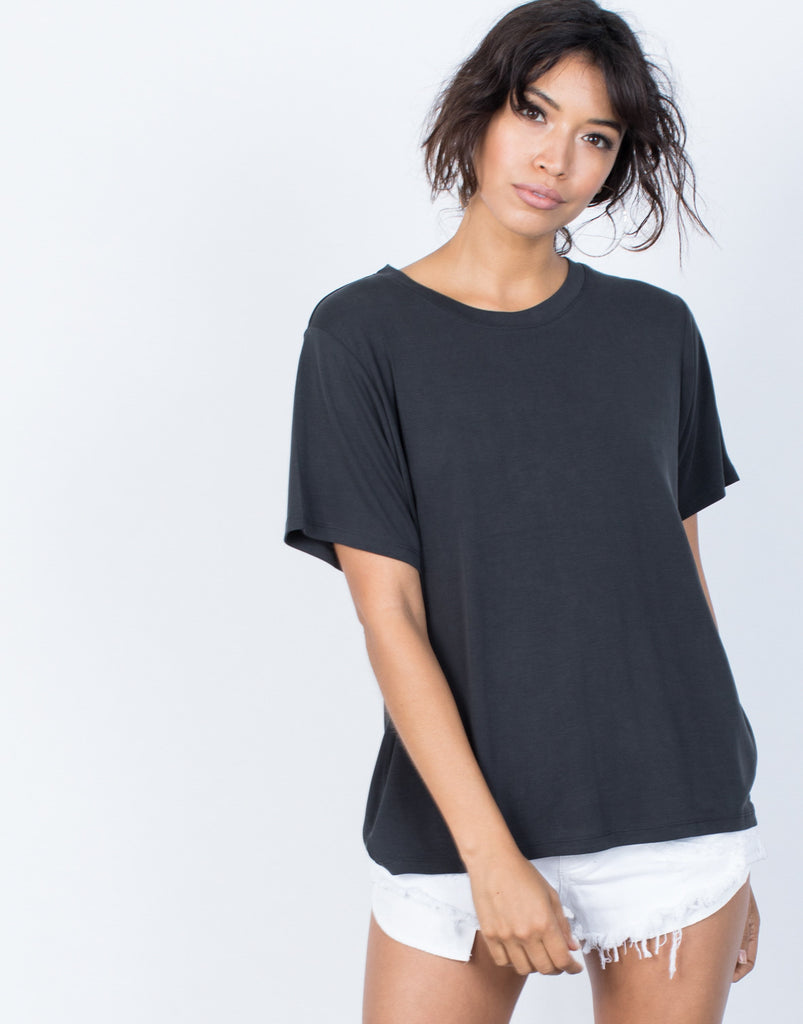 Black Snuggle Soft Tee - Front View