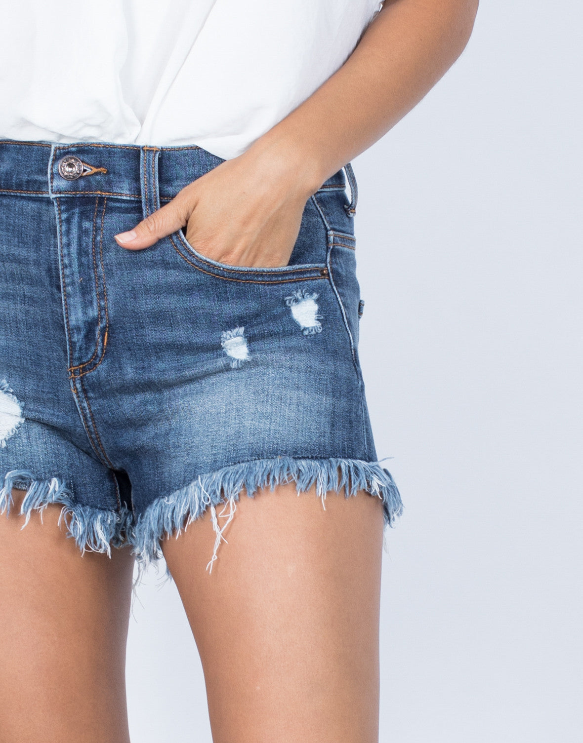 Blue Denim So Frayed Denim Shorts - Detail