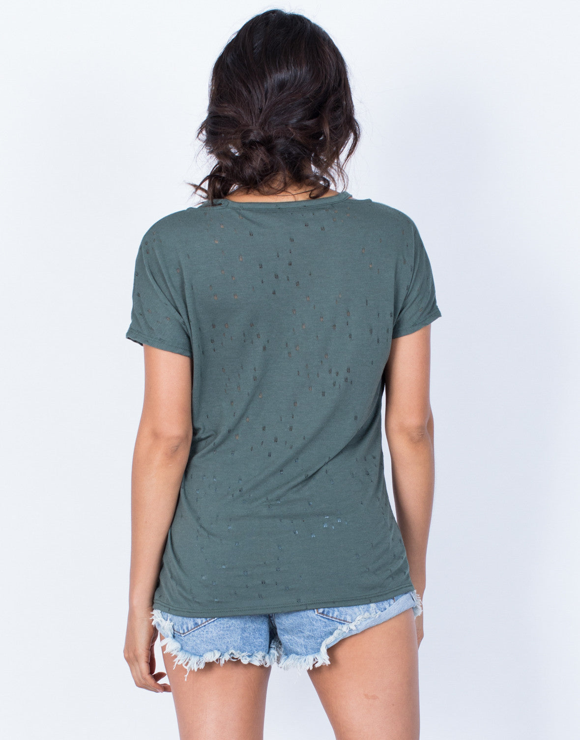 Back View of So Torn Basic Tee