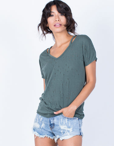 Front View of So Torn Basic Tee