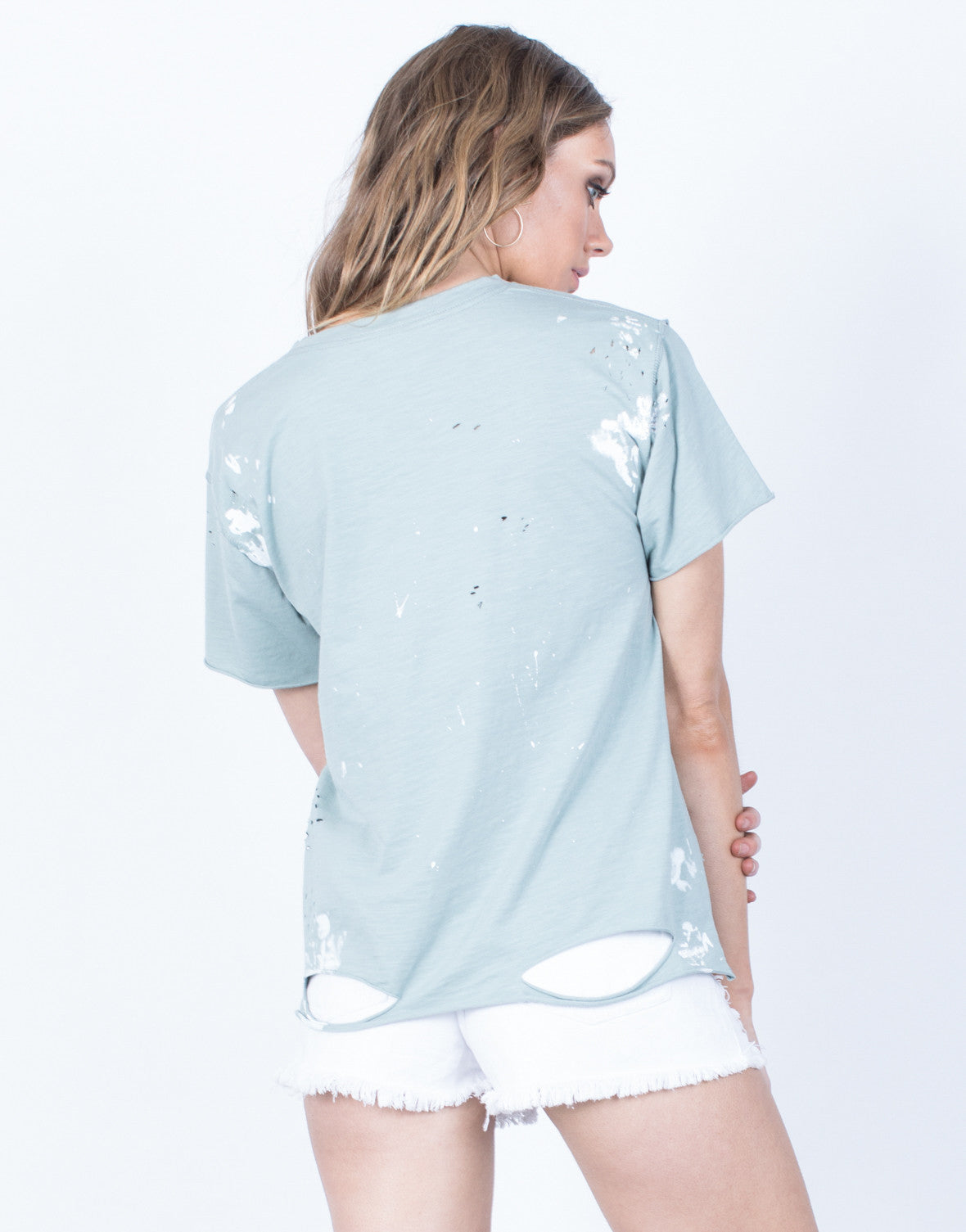 Back View of Soaked in Paint Tee