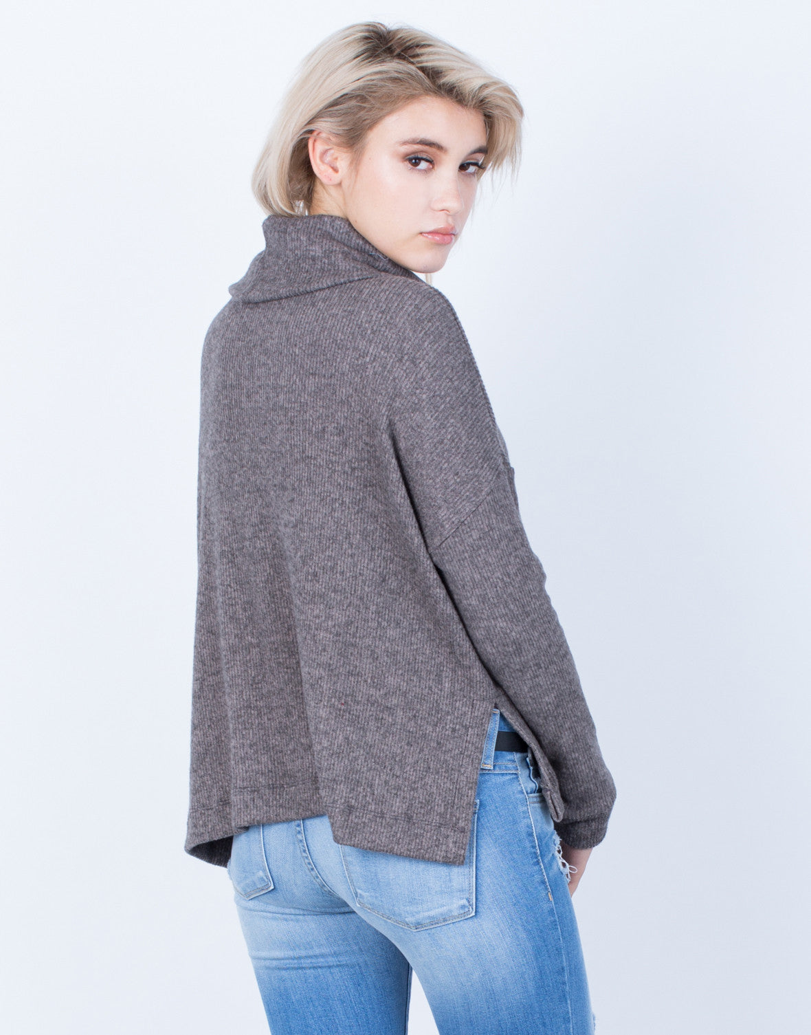 Back View of Soft Brushed Sweater Top