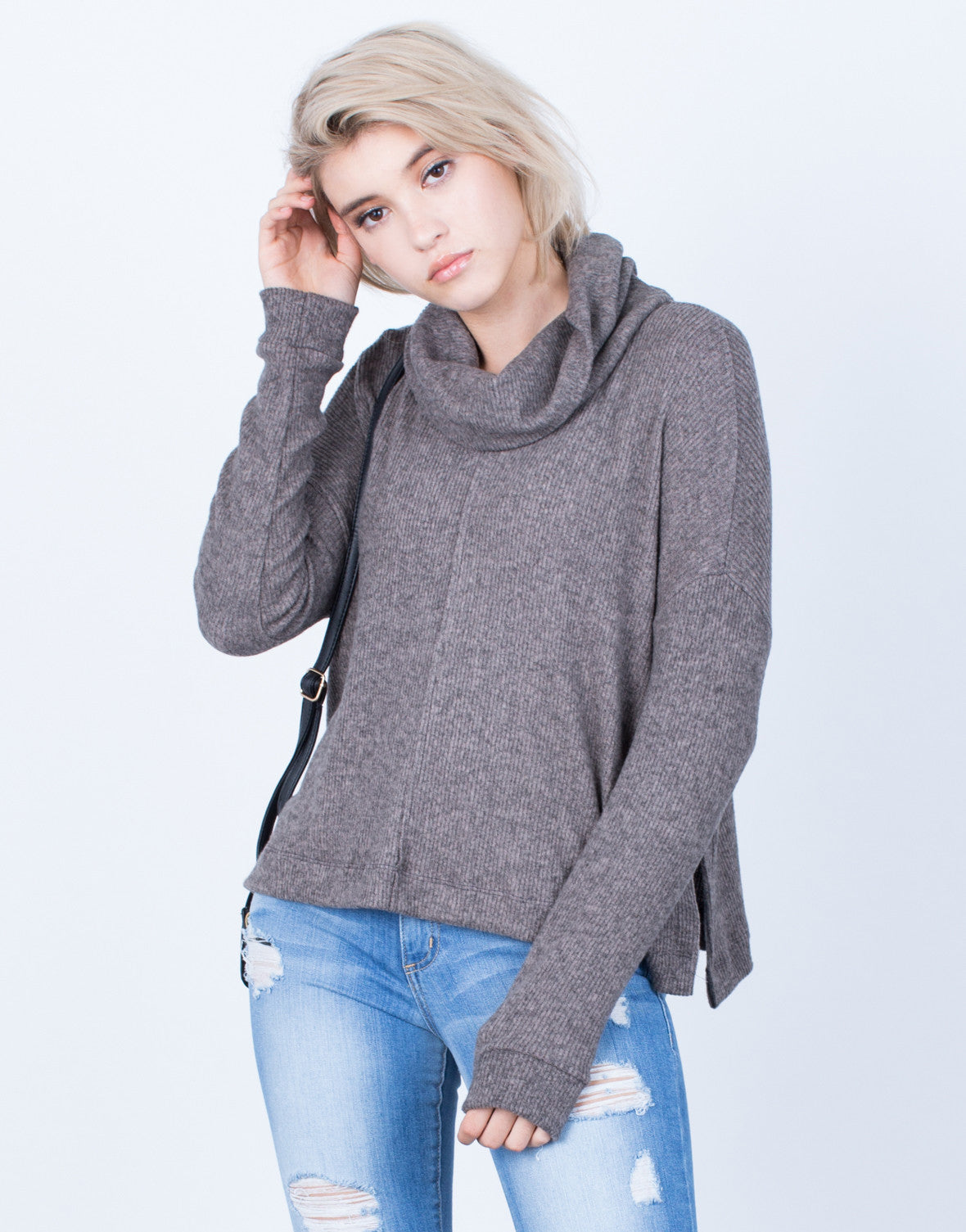 Front View of Soft Brushed Sweater Top