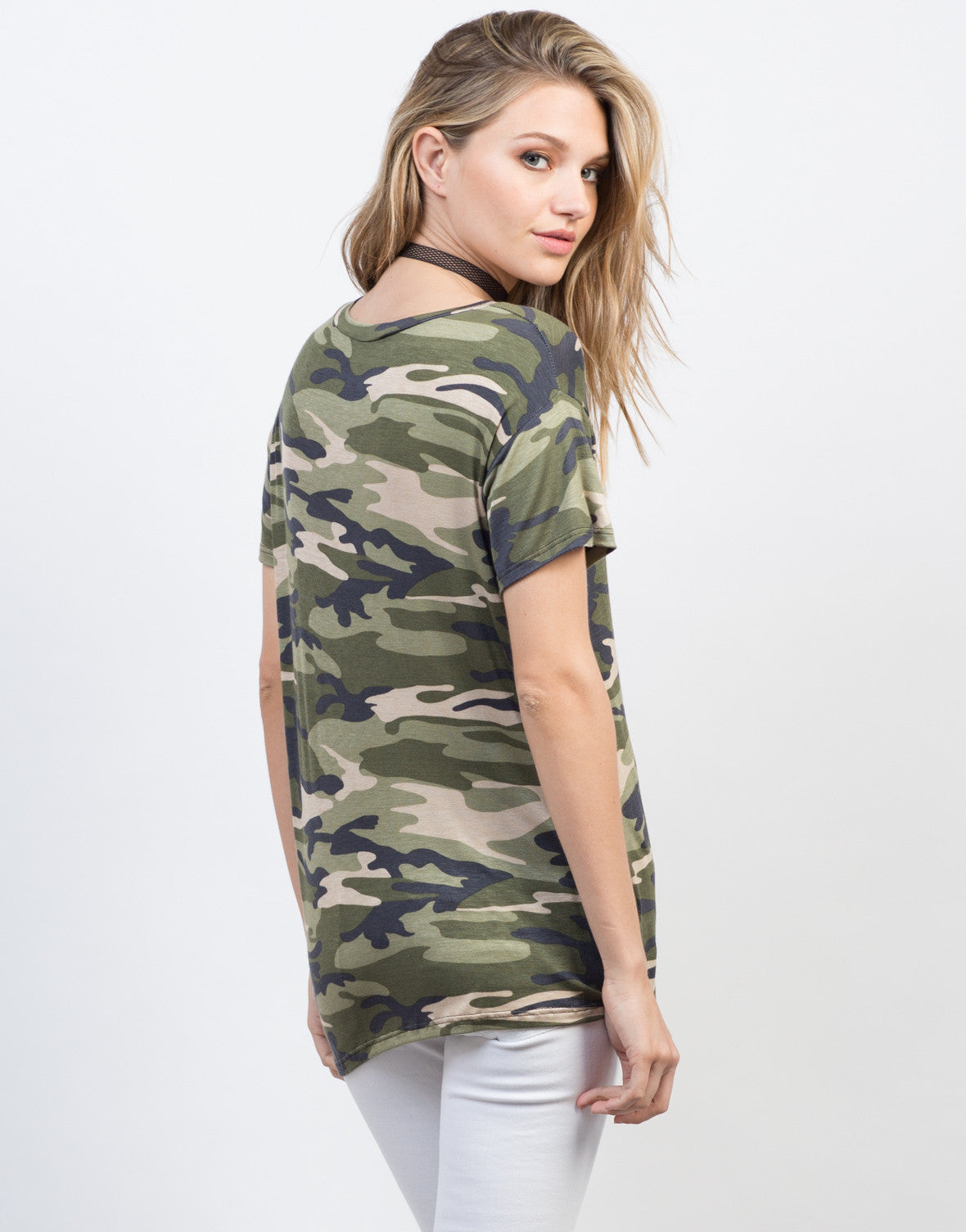 Back View of Soft Camo Tee
