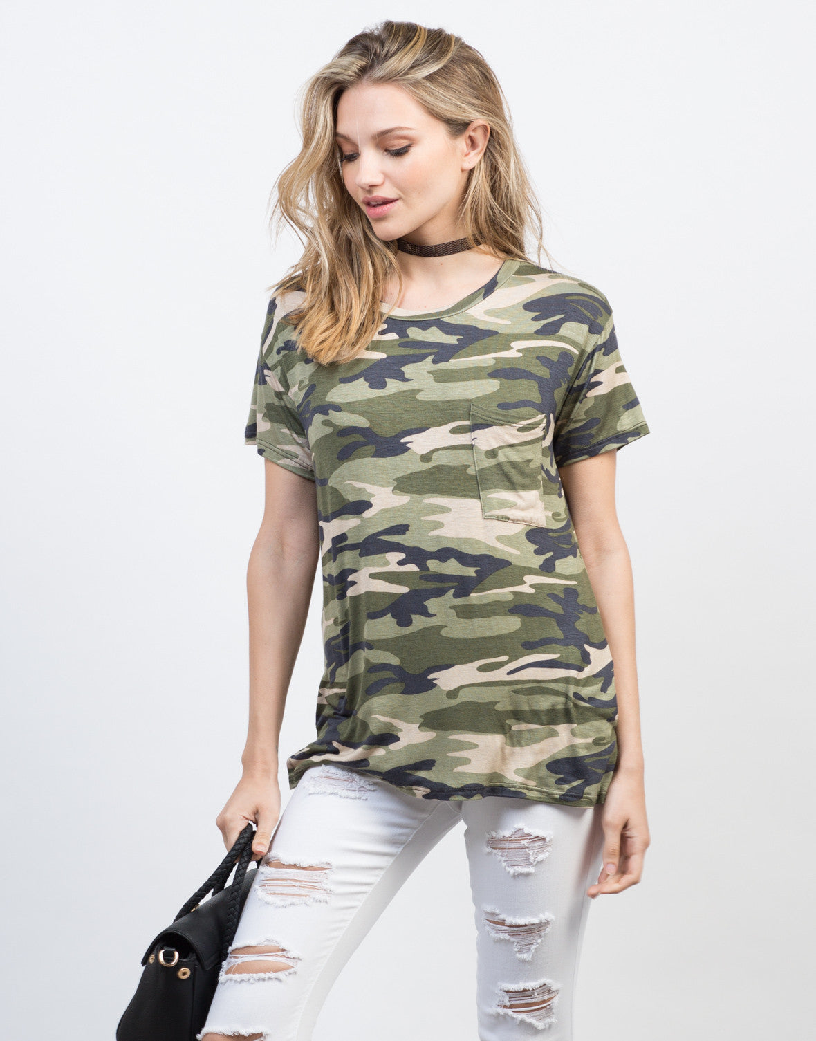 Front View of Soft Camo Tee