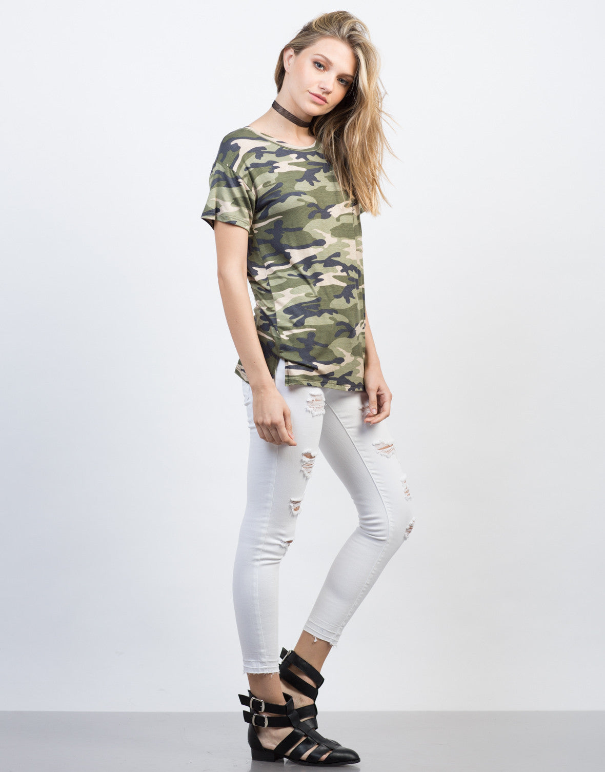 Side View of Soft Camo Tee