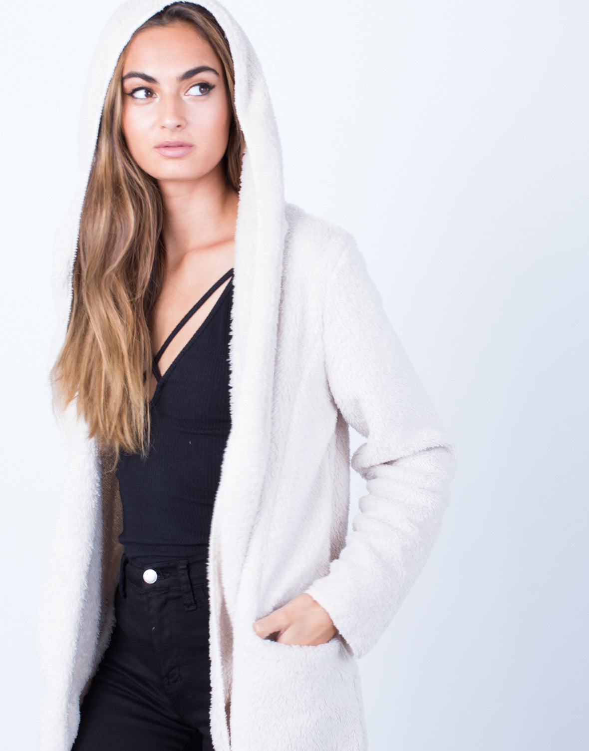 Detail of Soft Cozy Hooded Jacket