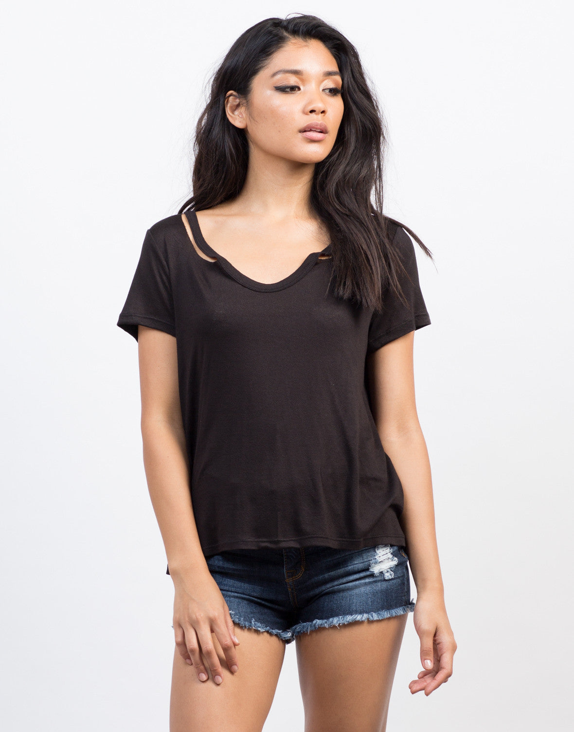 Front View of Soft Cut Out Tee