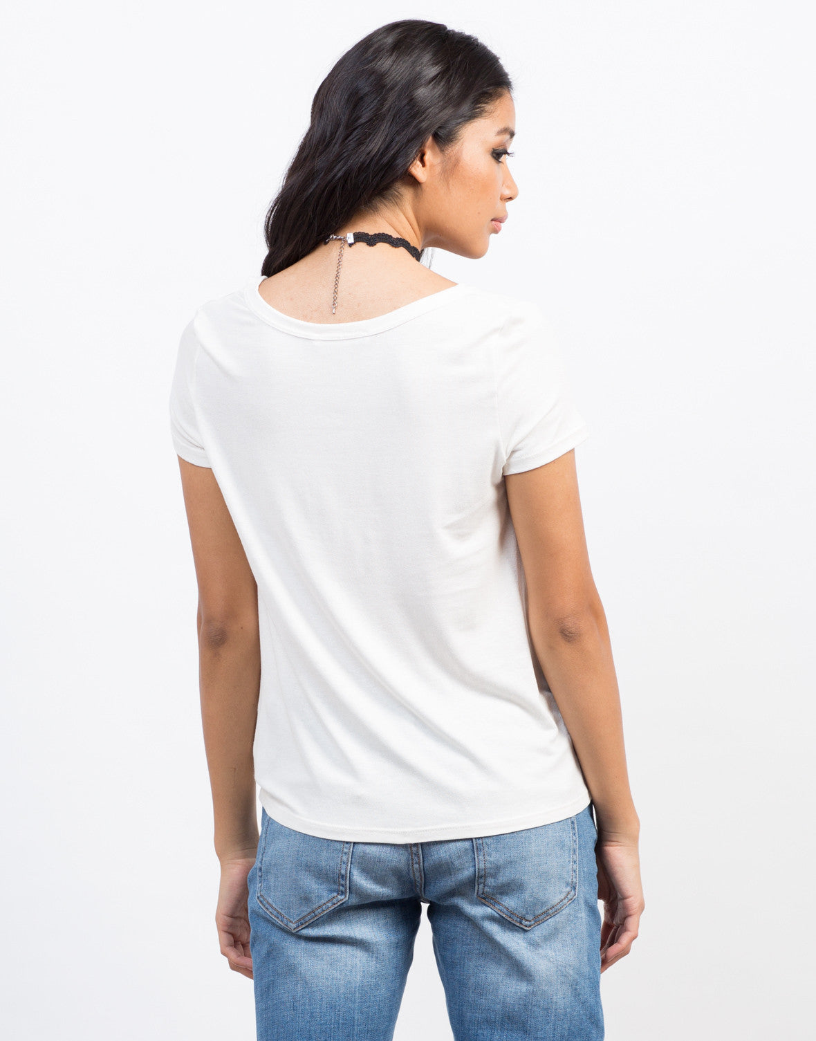 Back View of Soft Cut Out Tee