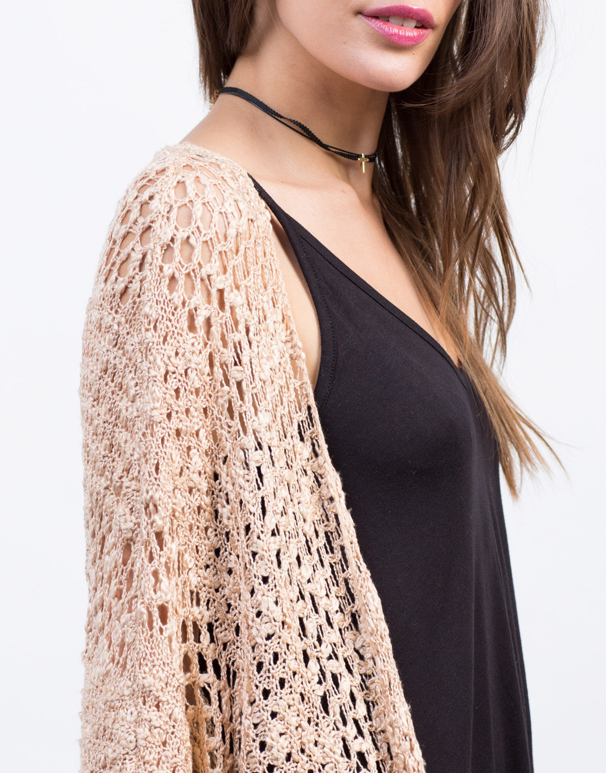 Detail of Soft Dolman Knit Cardigan