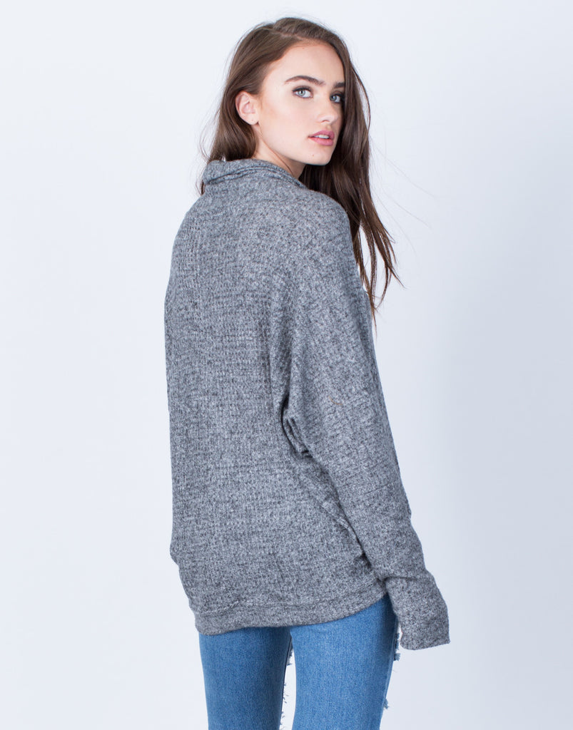 Back View of Soft Draped Neck Sweater