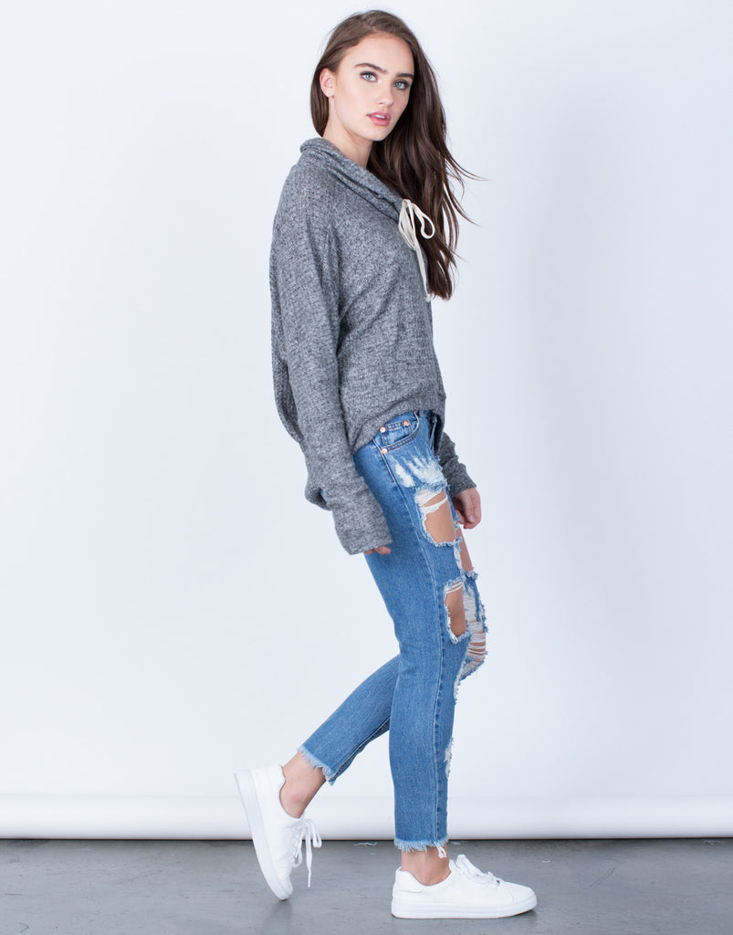 Side View of Soft Draped Neck Sweater