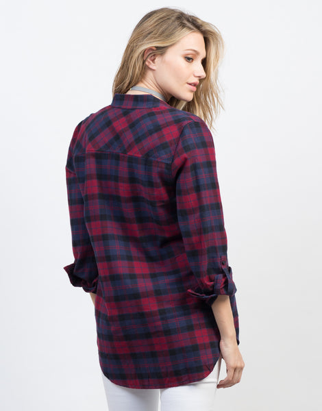 Soft Flannel Shirt Red Blue Plaid Top Button Up Blouse