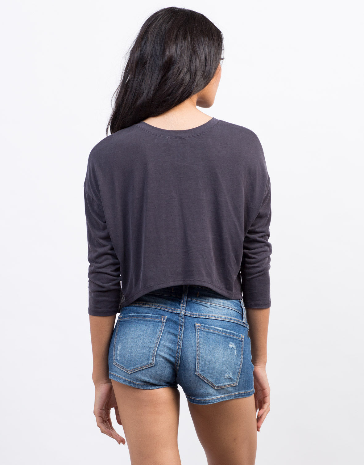 Back View of Soft Hi-Low Cropped Tee