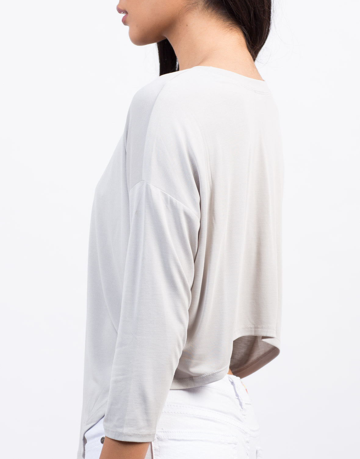 Front View of Soft-Hi Low Cropped Tee