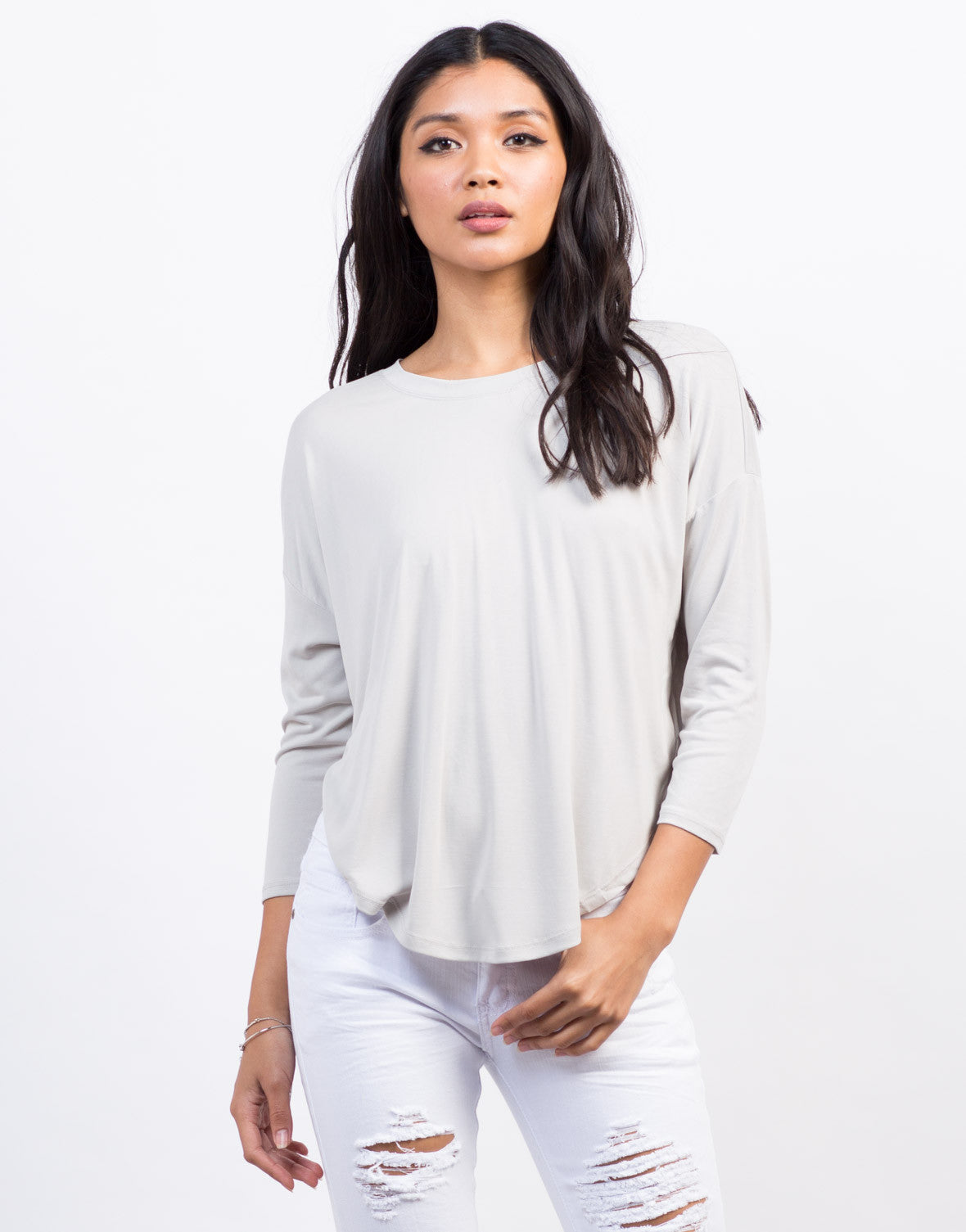 Front View of Soft Hi-Low Cropped Tee