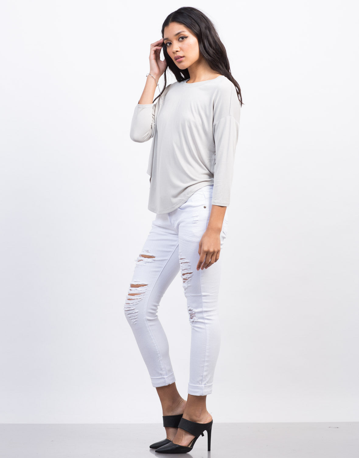 Side View of Soft Hi-Low Cropped Tee