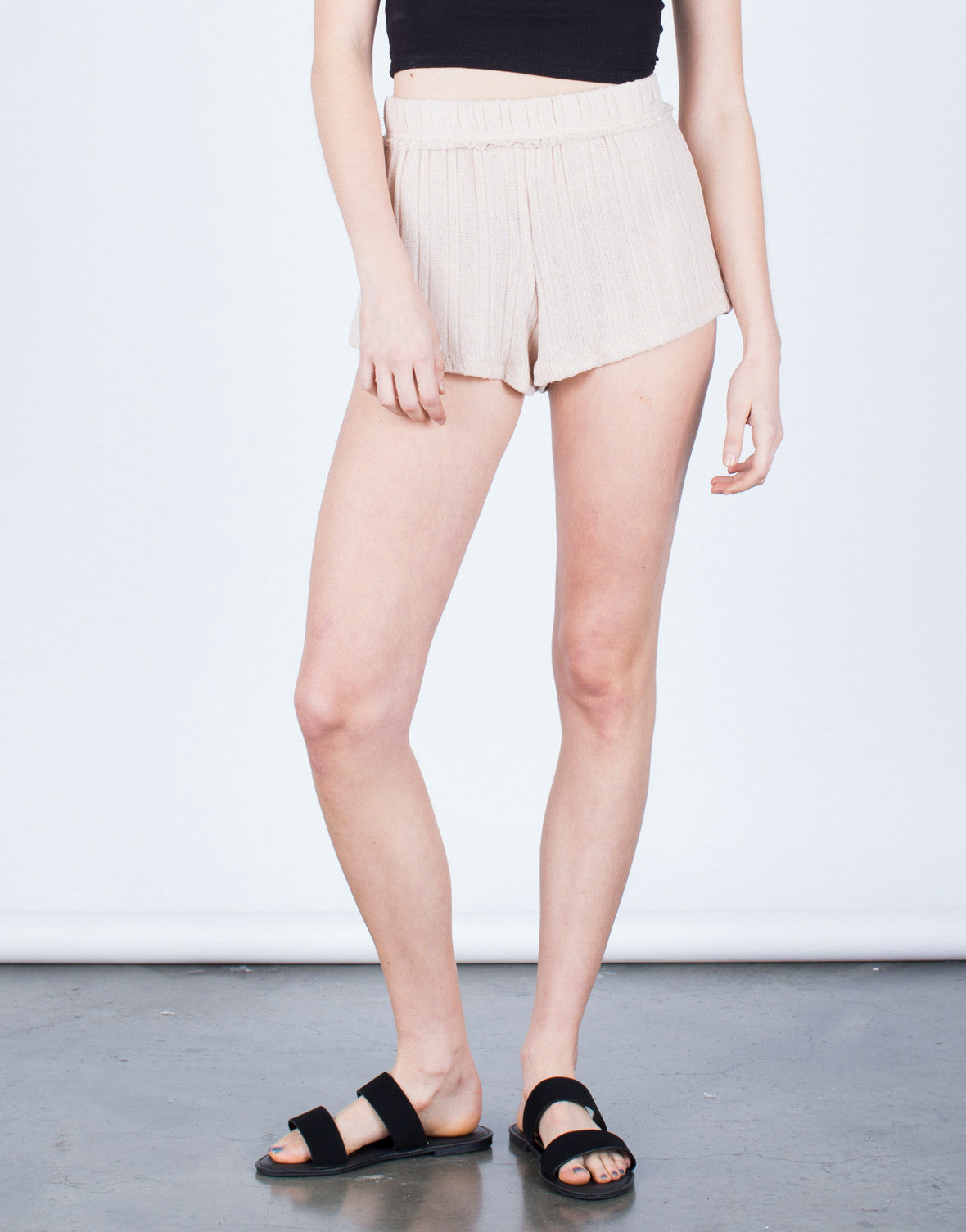 Front View of Soft Knit Shorts