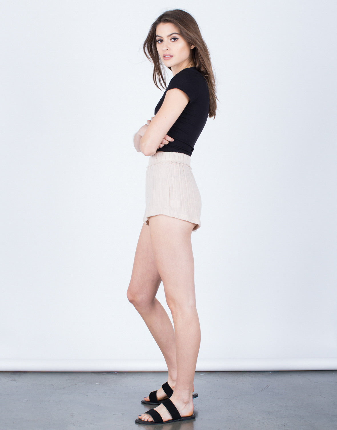 Side View of Soft Knit Shorts