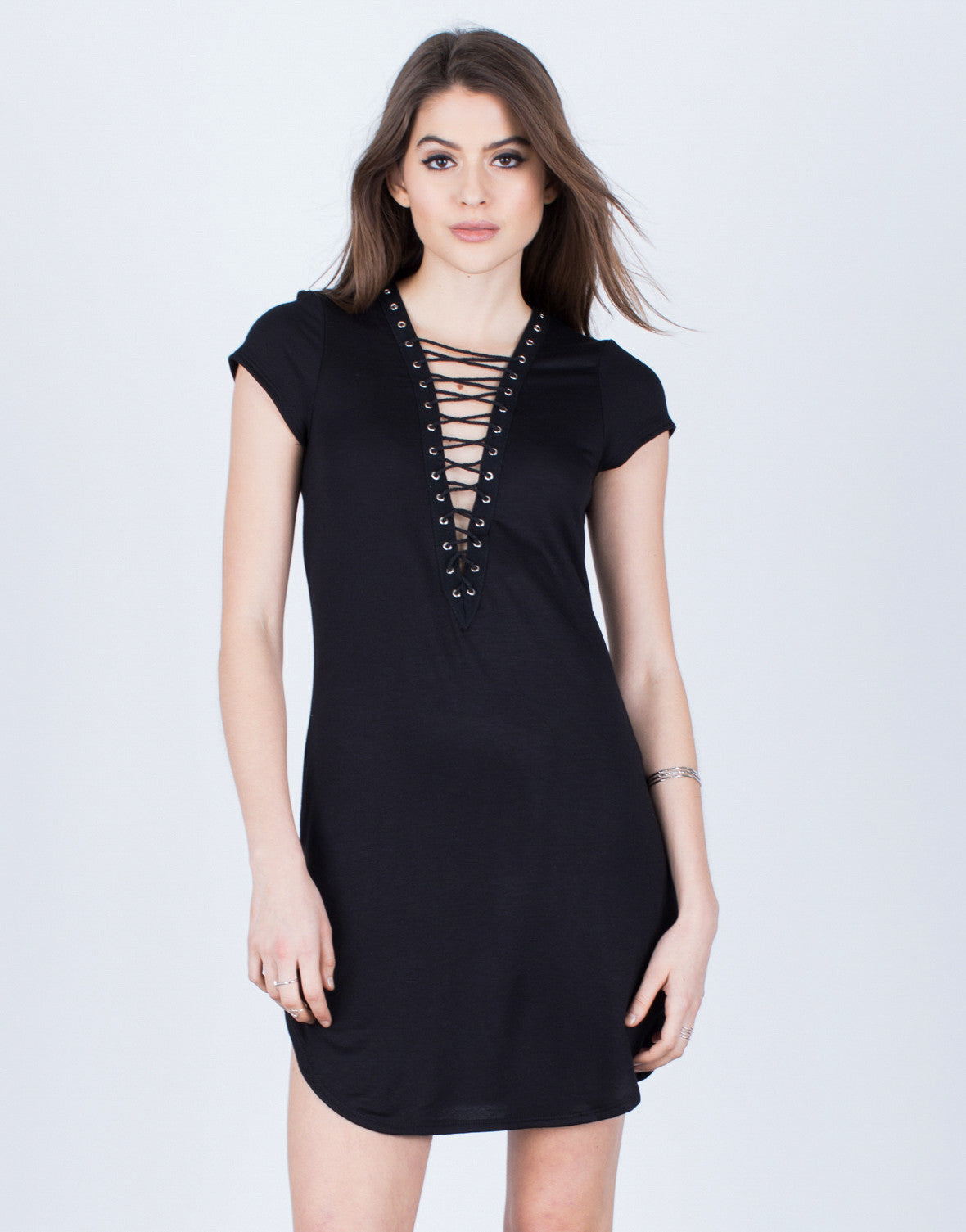 Front View of Soft Lace-Up Tunic Dress