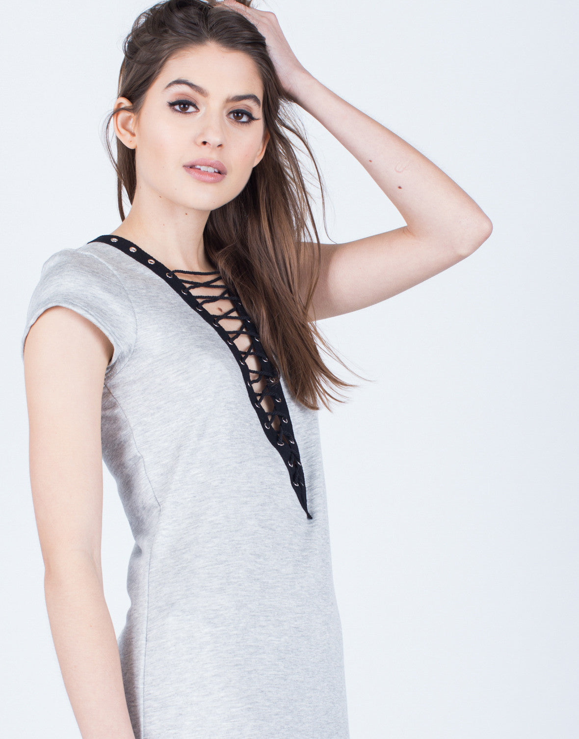 Detail of Soft Lace-Up Tunic Dress