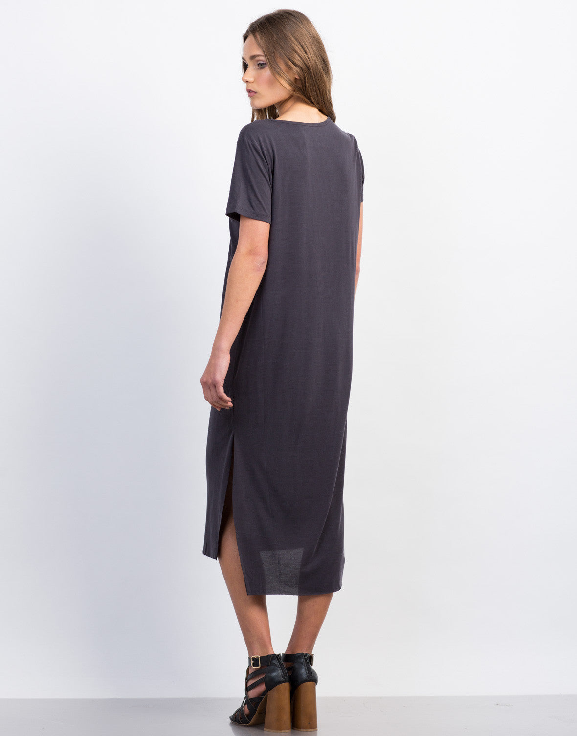Back View of Soft Midi Tee Dress