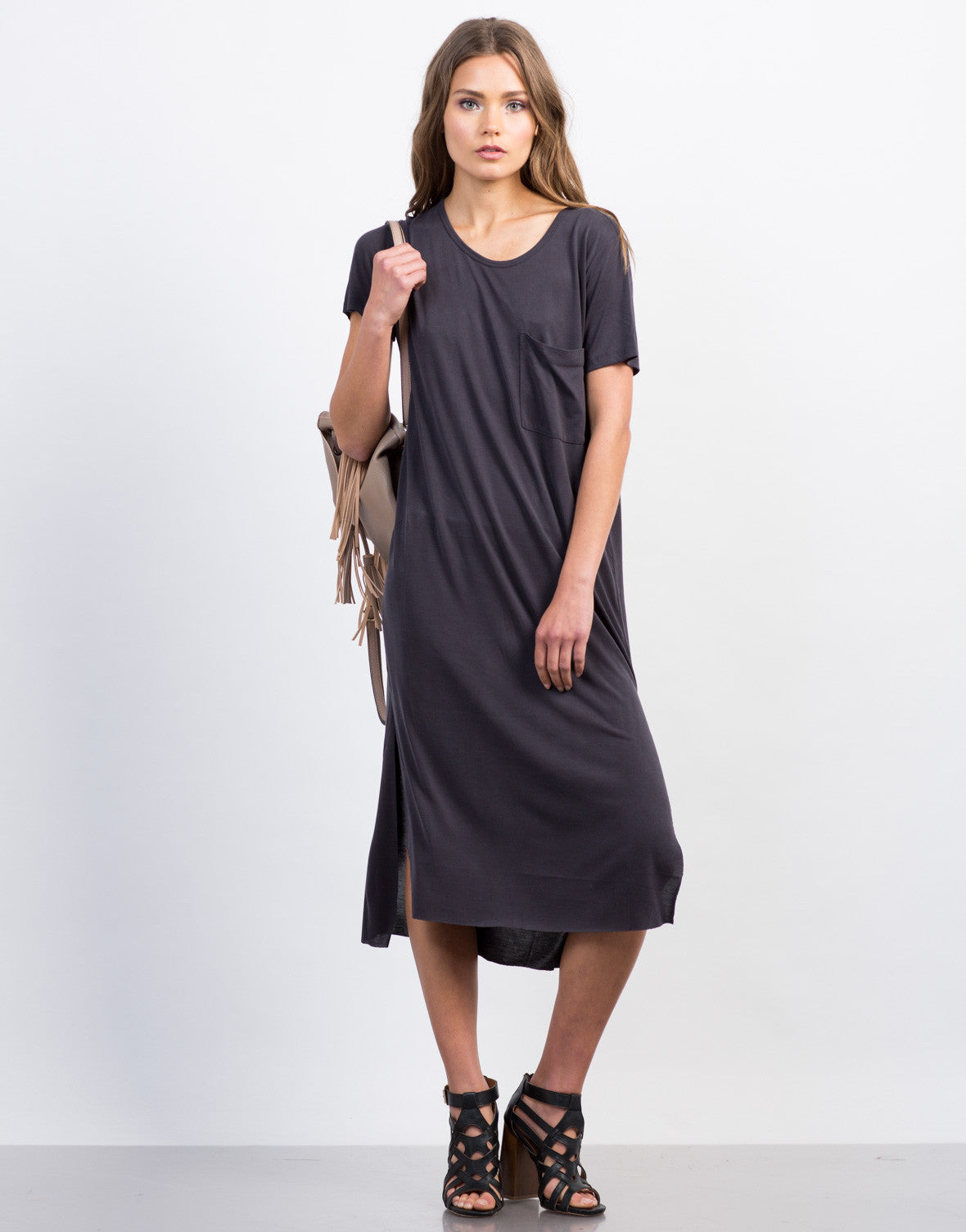 Front View of Soft Midi Tee Dress