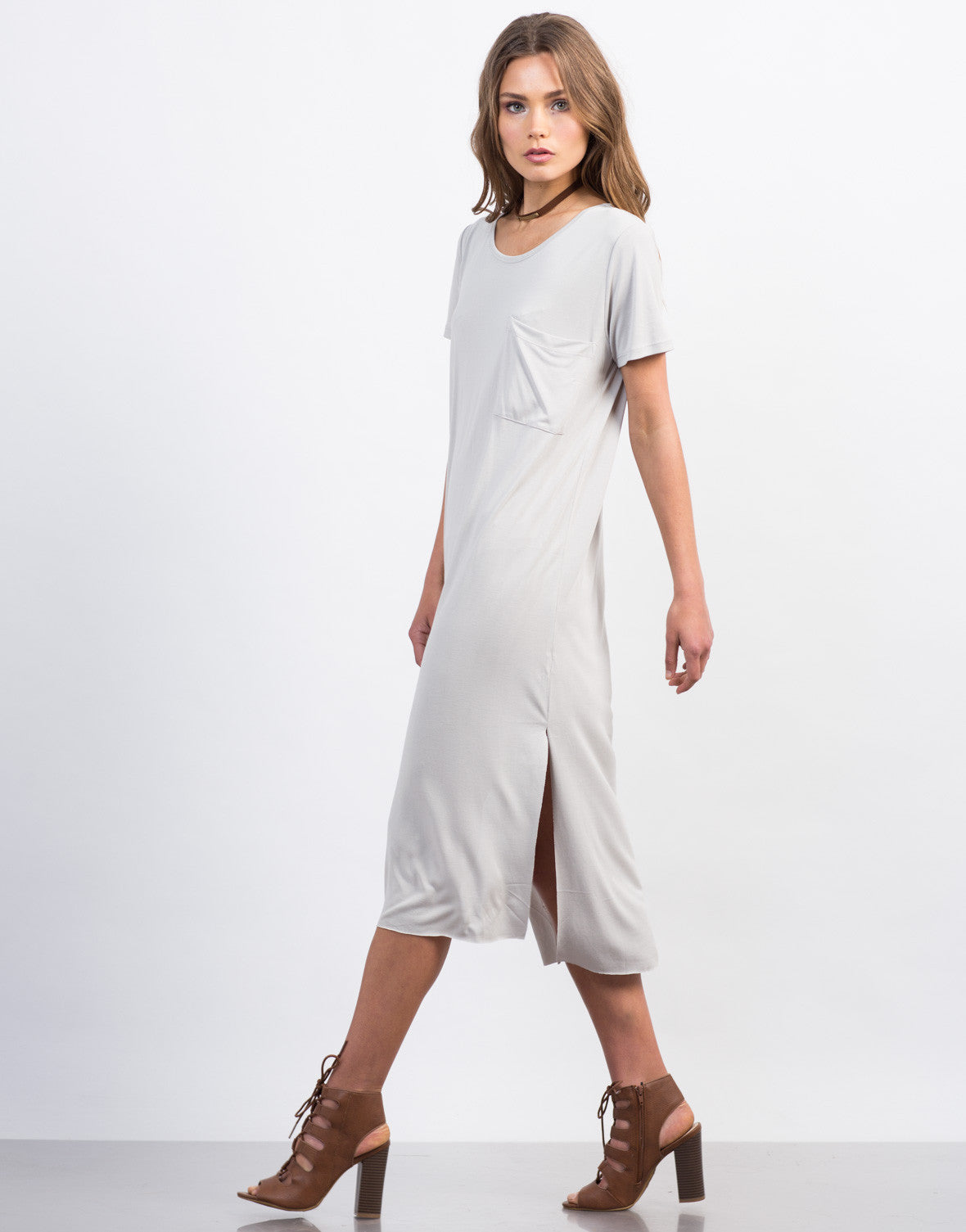 Side View of Soft Midi Tee Dress