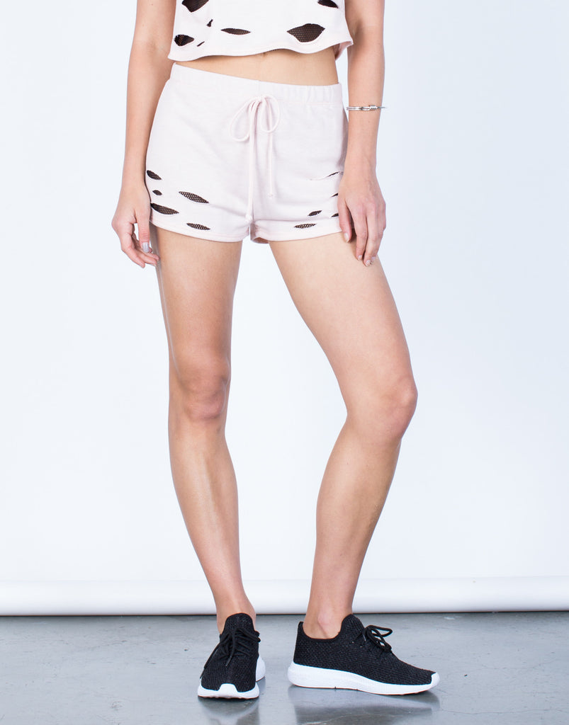 Front View of Soft Netted Shorts