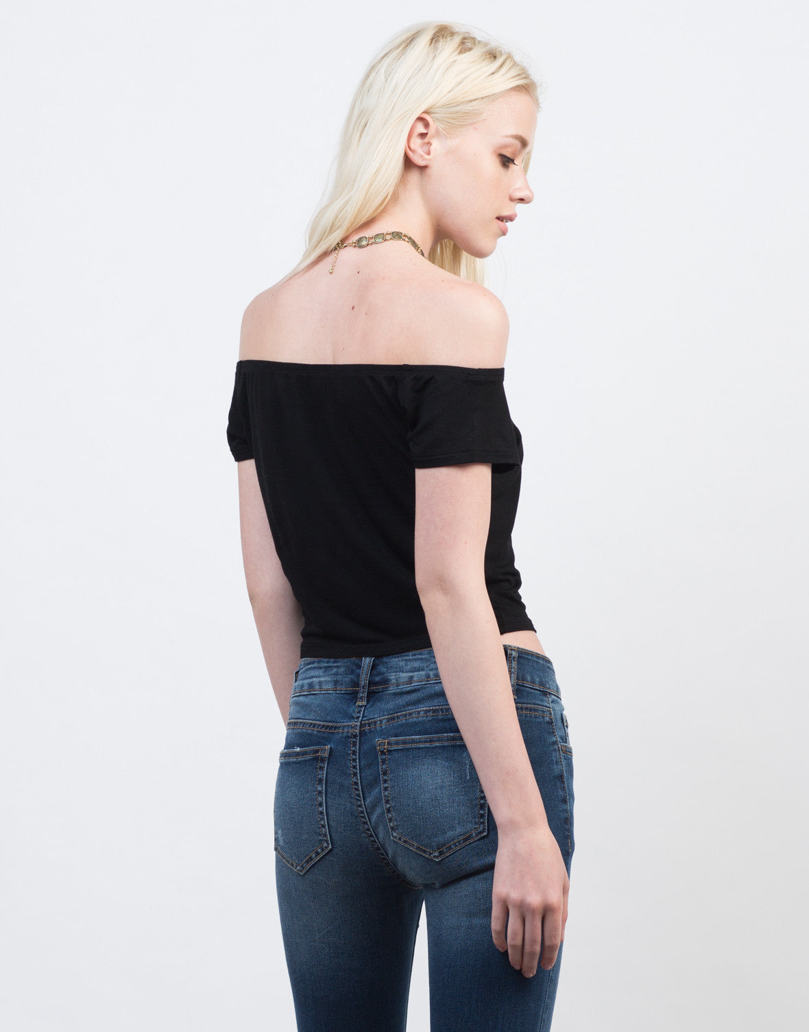 Back View of Soft Off-the-Shoulder Crop Top