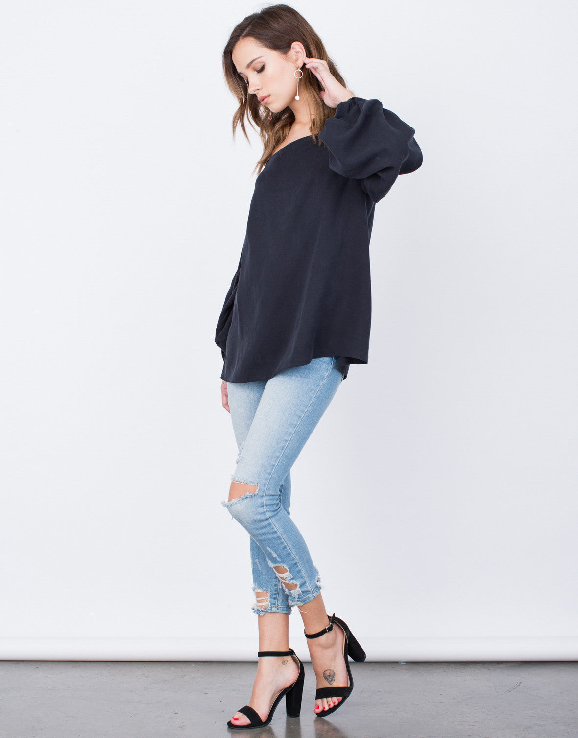 Side View of Soft Off-the-Shoulder Top