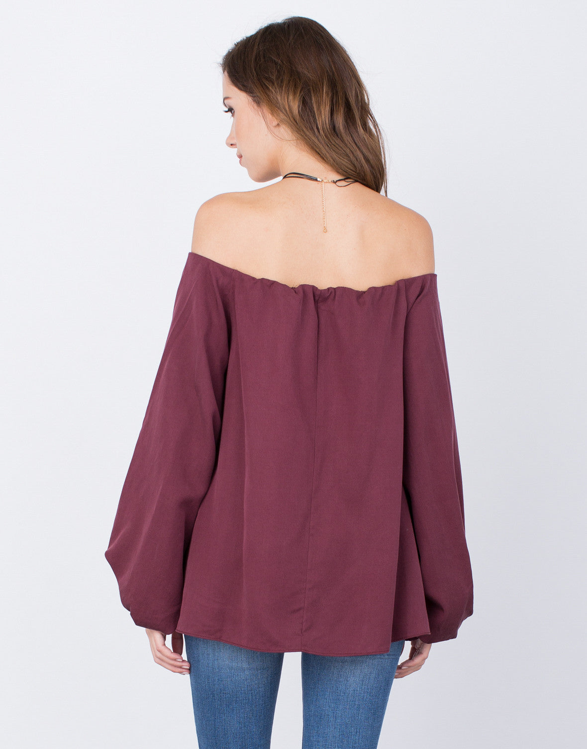 Back View of Soft Off-the-Shoulder Top